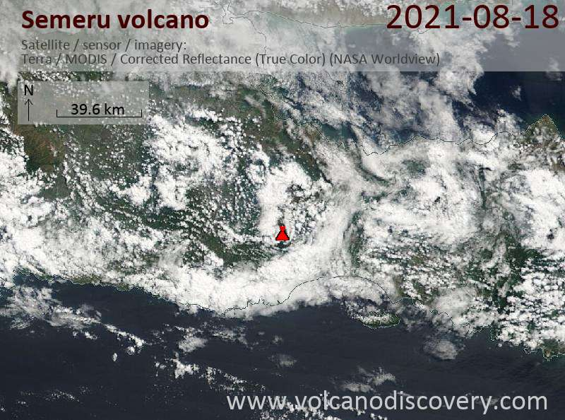 Satellitenbild des Semeru Vulkans am 19 Aug 2021