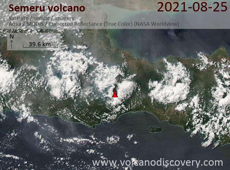 Satellitenbild des Semeru Vulkans am 26 Aug 2021