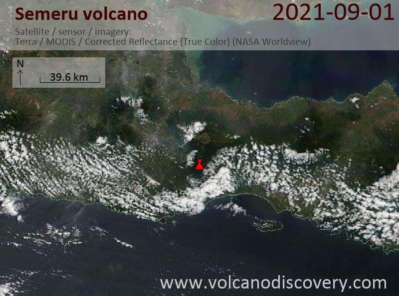 Satellitenbild des Semeru Vulkans am  1 Sep 2021