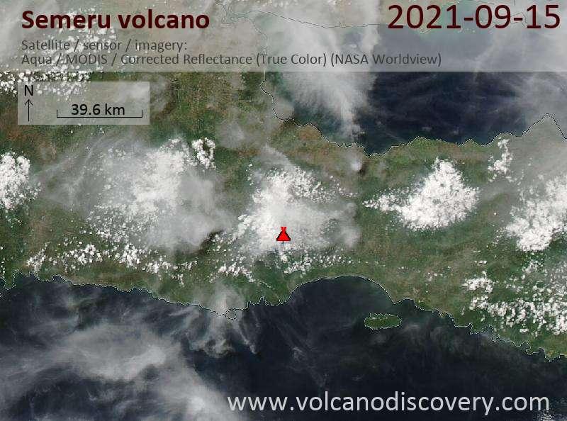 Satellite image of Semeru volcano on 15 Sep 2021
