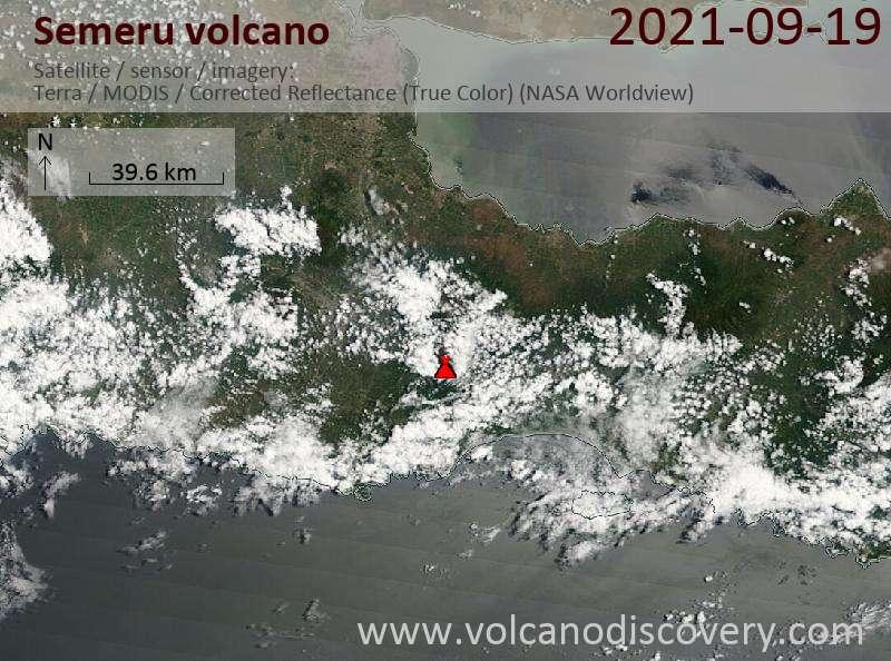 Satellite image of Semeru volcano on 19 Sep 2021