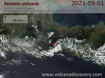 Satellite image of Semeru volcano on  1 Sep 2021