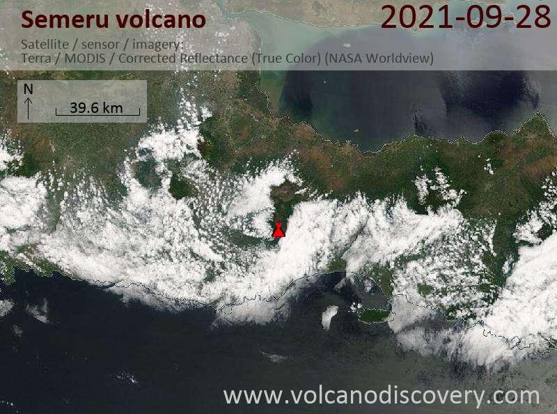 Satellite image of Semeru volcano on 28 Sep 2021