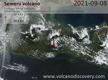 Satellite image of Semeru volcano on  8 Sep 2021