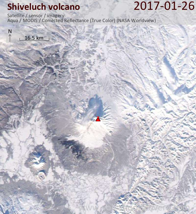 Satellite image of Shiveluch volcano on 26 Jan 2017