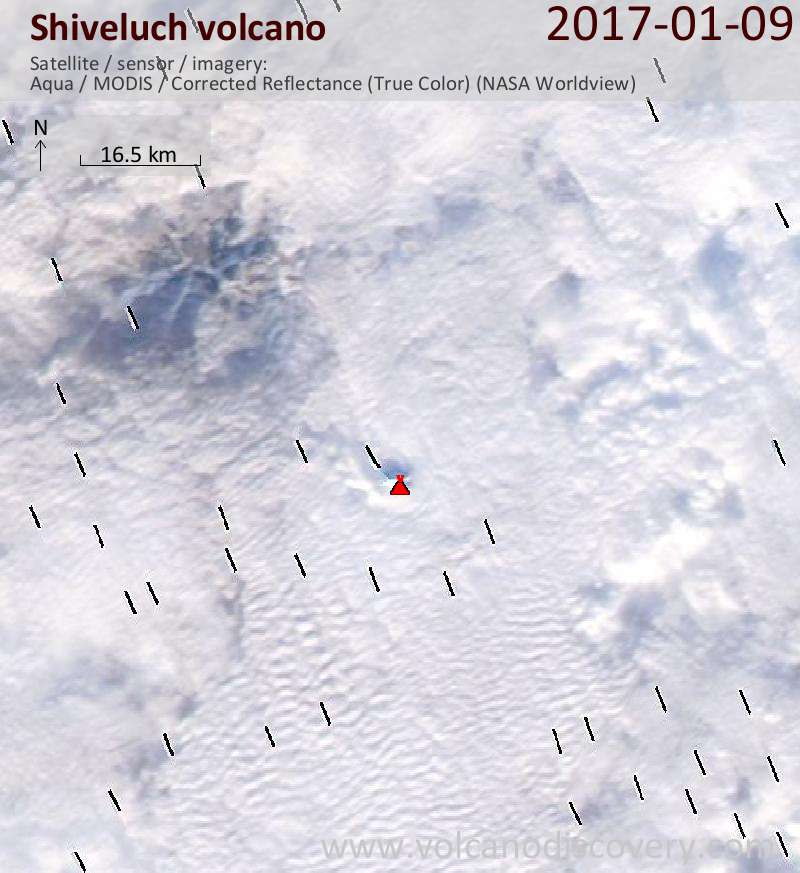 Satellite image of Shiveluch volcano on  9 Jan 2017
