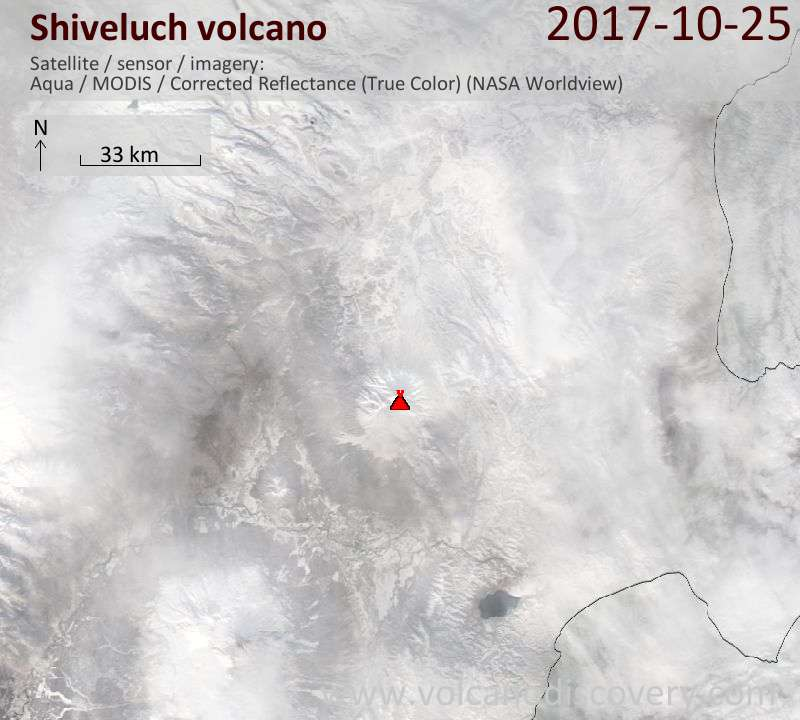 Satellite image of Shiveluch volcano on 25 Oct 2017