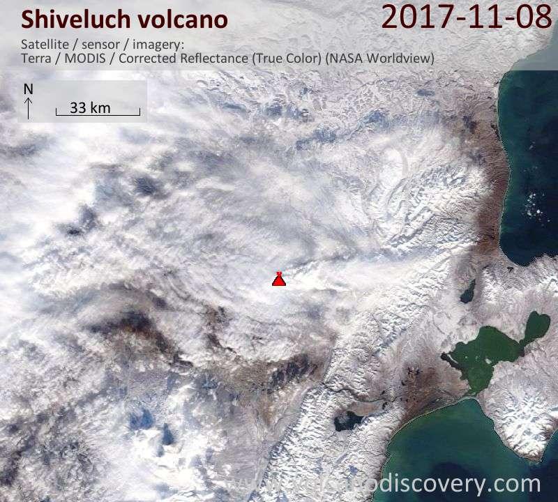 Satellite image of Shiveluch volcano on  8 Nov 2017