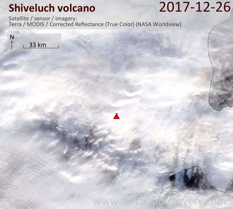Satellite image of Shiveluch volcano on 26 Dec 2017