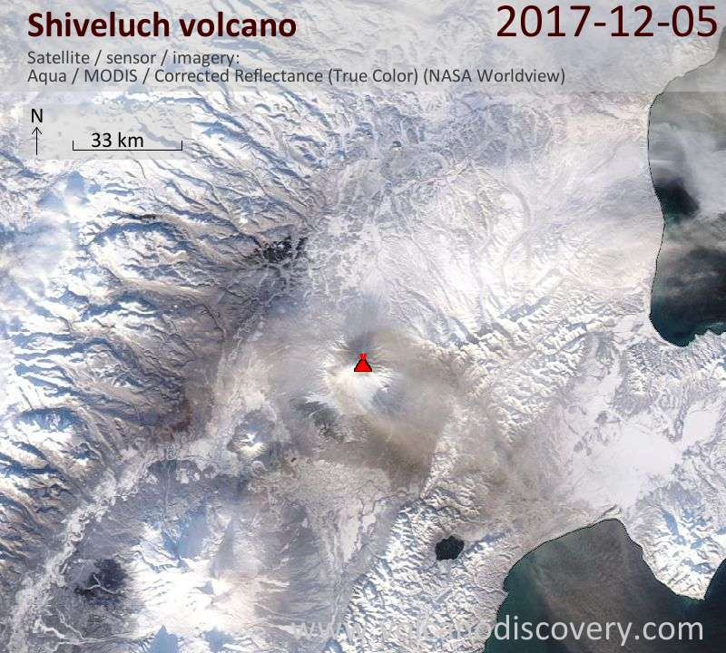Satellite image of Shiveluch volcano on  6 Dec 2017