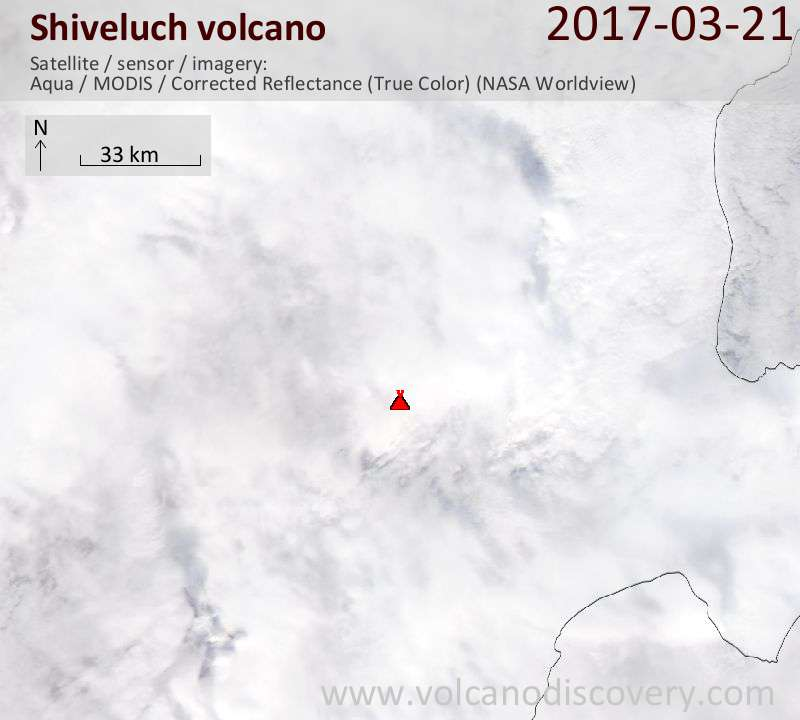 Satellite image of Shiveluch volcano on 21 Mar 2017