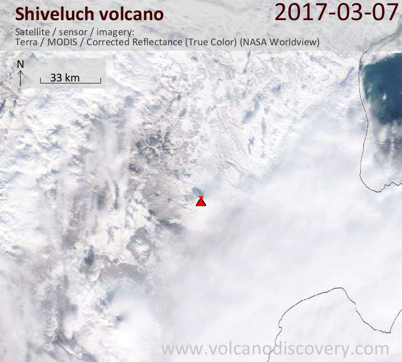 Satellite image of Shiveluch volcano on  7 Mar 2017