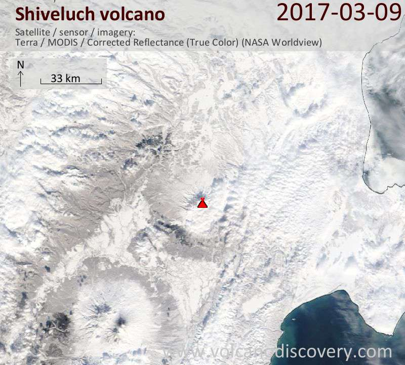 Satellite image of Shiveluch volcano on  9 Mar 2017