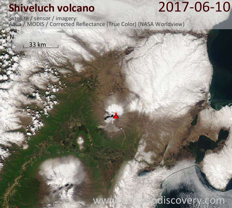 Satellite image of Shiveluch volcano on 10 Jun 2017