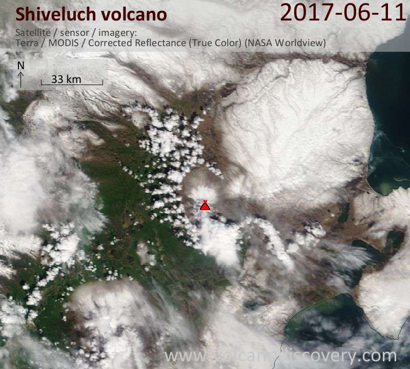 Satellite image of Shiveluch volcano on 11 Jun 2017