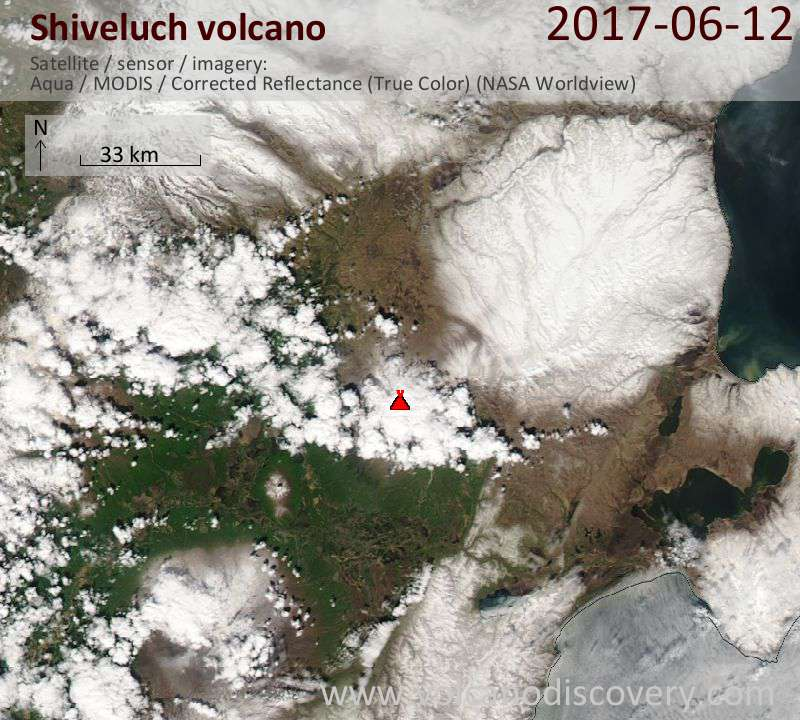 Satellite image of Shiveluch volcano on 12 Jun 2017
