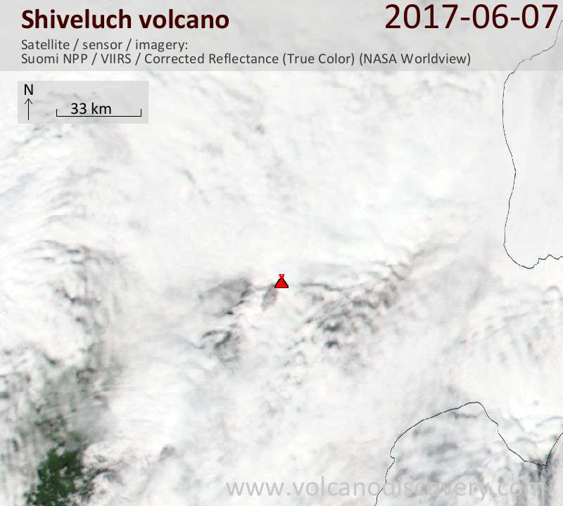 Satellite image of Shiveluch volcano on  7 Jun 2017