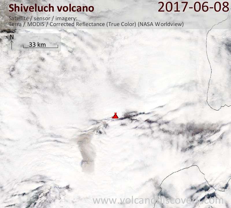Satellite image of Shiveluch volcano on  9 Jun 2017