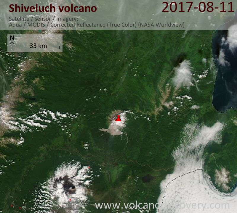 Satellite image of Shiveluch volcano on 11 Aug 2017