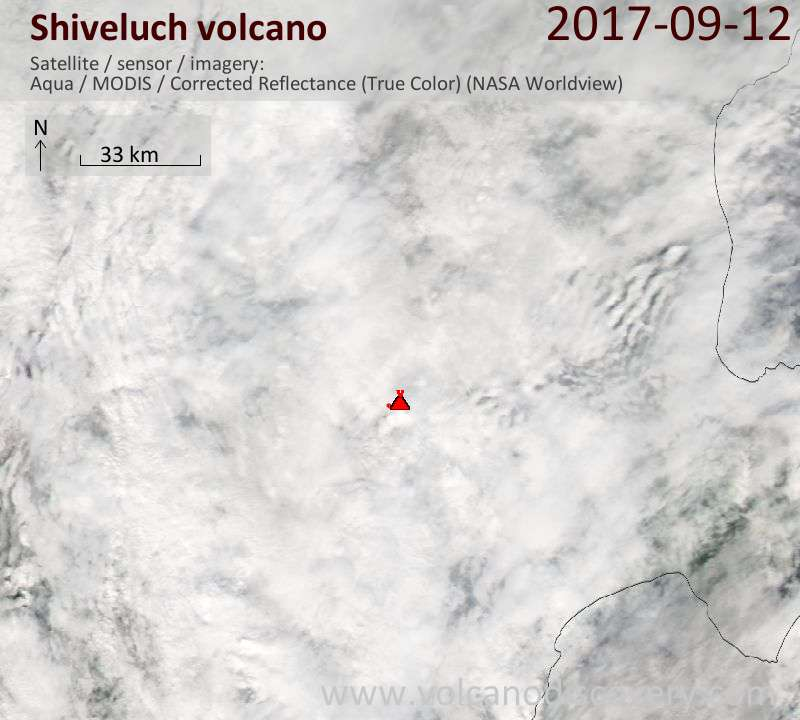 Satellite image of Shiveluch volcano on 13 Sep 2017