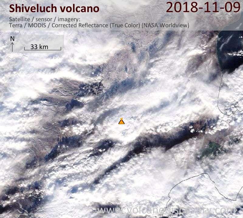 Satellite image of Shiveluch volcano on  9 Nov 2018
