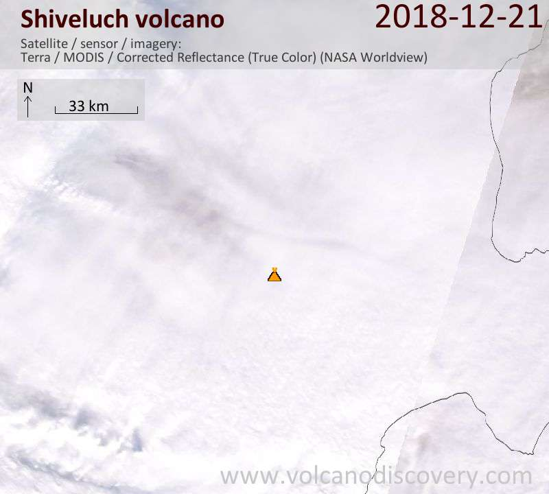 Satellite image of Shiveluch volcano on 21 Dec 2018