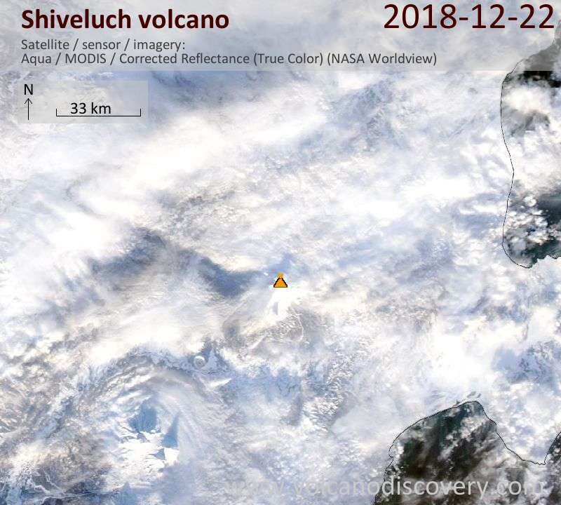 Satellite image of Shiveluch volcano on 22 Dec 2018