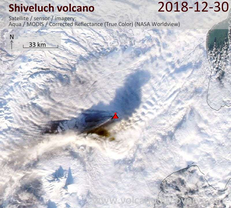 Satellite image of Shiveluch volcano on 30 Dec 2018