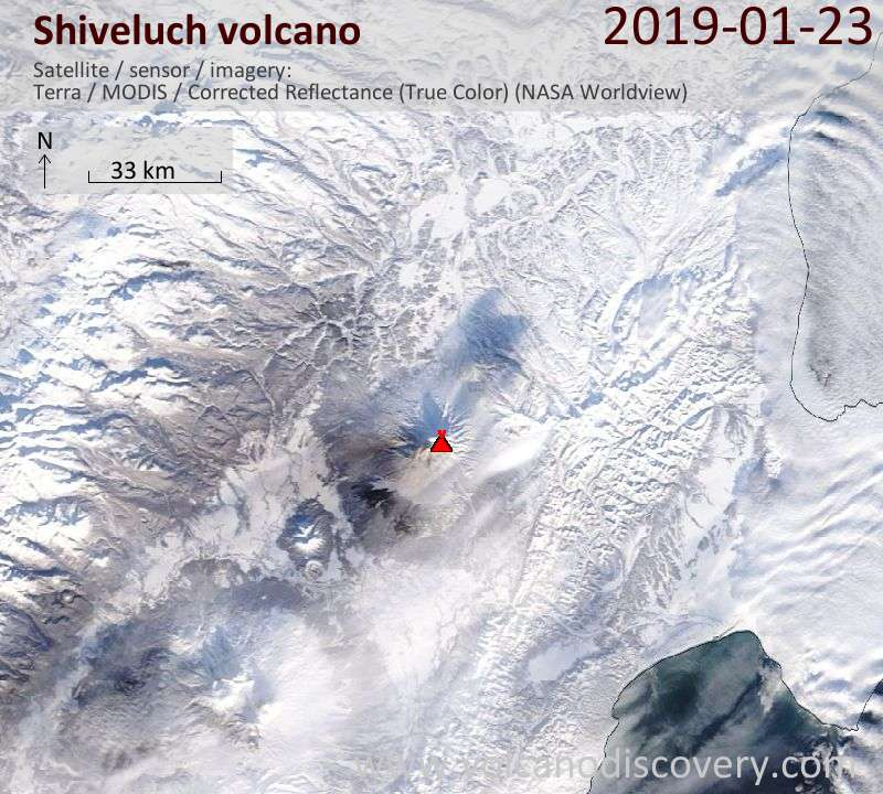 Satellite image of Shiveluch volcano on 23 Jan 2019