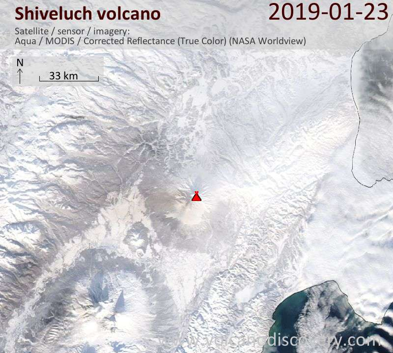 Satellite image of Shiveluch volcano on 24 Jan 2019