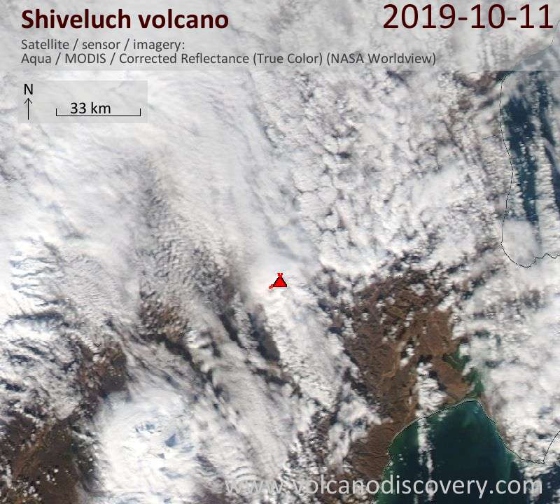 Satellite image of Shiveluch volcano on 12 Oct 2019