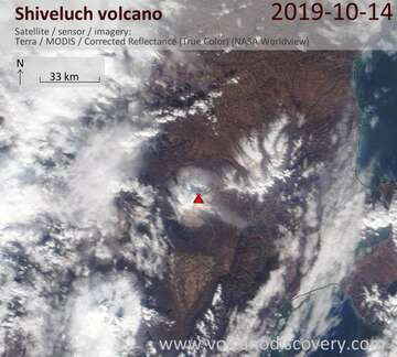 Satellite image of Shiveluch volcano on 14 Oct 2019