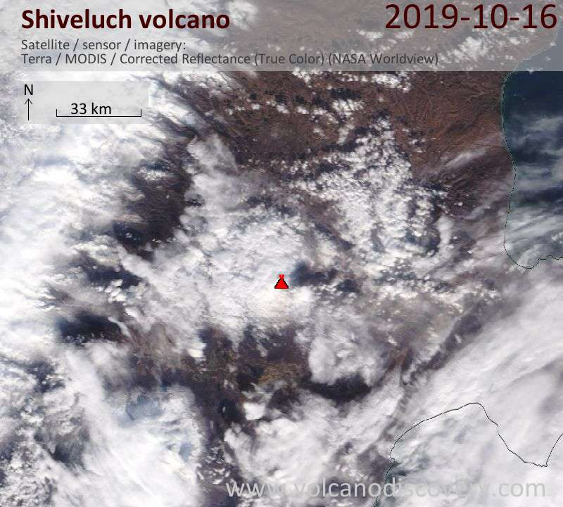 Satellite image of Shiveluch volcano on 16 Oct 2019
