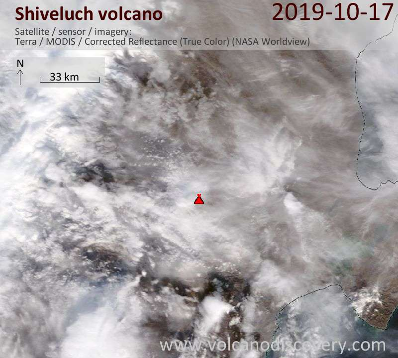 Satellite image of Shiveluch volcano on 17 Oct 2019
