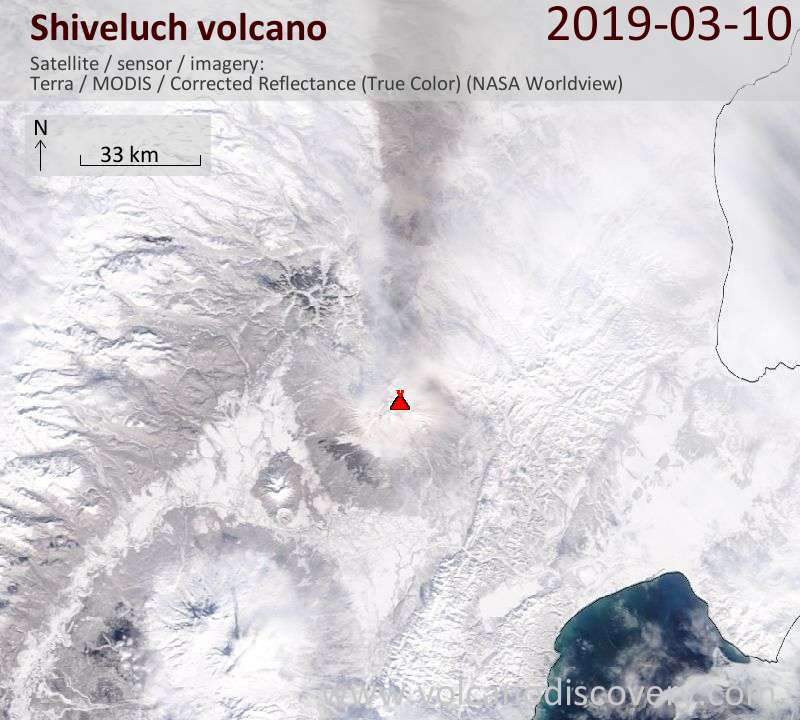 Satellite image of Shiveluch volcano on 10 Mar 2019