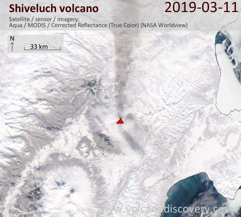 Satellite image of Shiveluch volcano on 11 Mar 2019