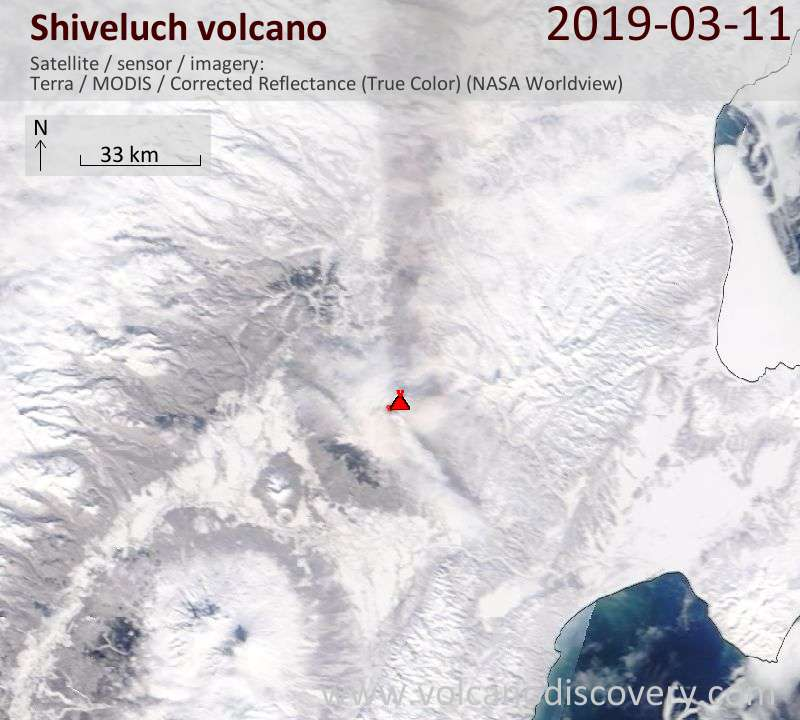 Satellite image of Shiveluch volcano on 12 Mar 2019