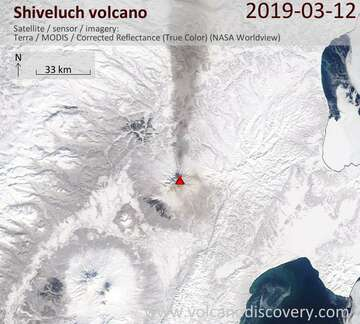 Satellite image of Shiveluch volcano on 13 Mar 2019