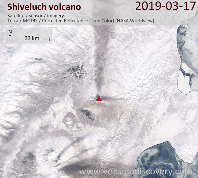 Satellite image of Shiveluch volcano on 17 Mar 2019