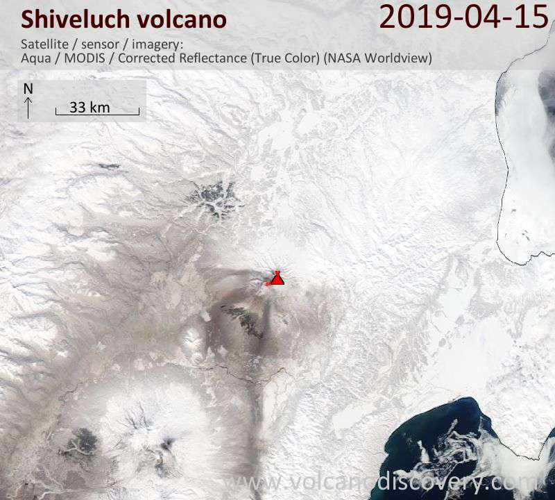 Satellite image of Shiveluch volcano on 15 Apr 2019