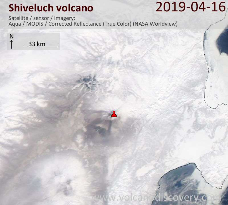 Satellite image of Shiveluch volcano on 16 Apr 2019