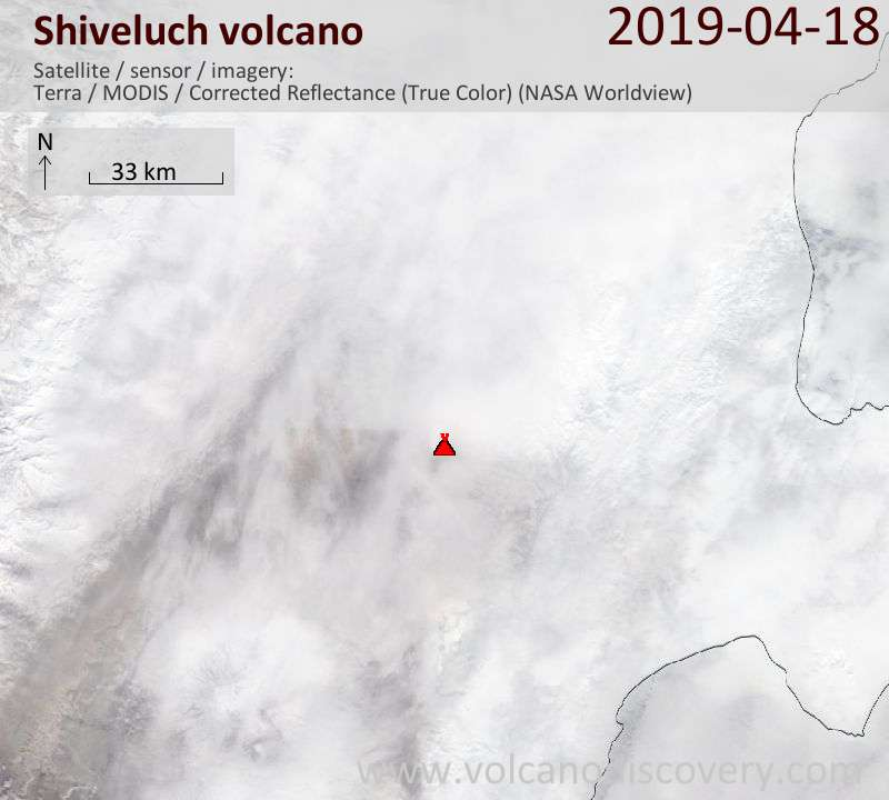 Satellite image of Shiveluch volcano on 18 Apr 2019