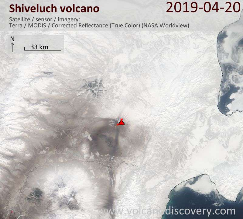Satellite image of Shiveluch volcano on 20 Apr 2019