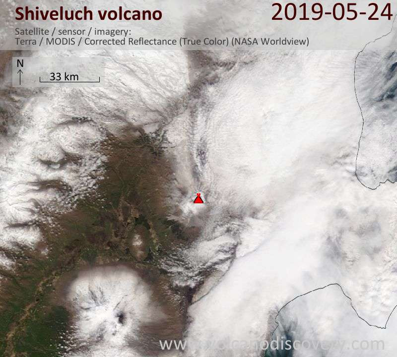 Satellite image of Shiveluch volcano on 24 May 2019