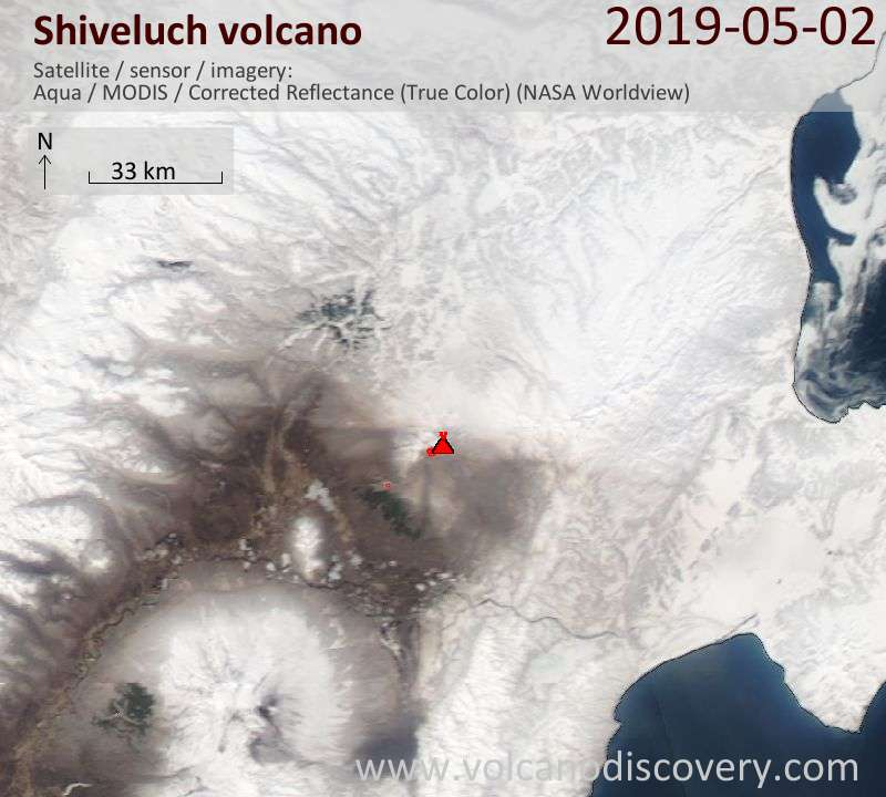 Satellite image of Shiveluch volcano on  3 May 2019