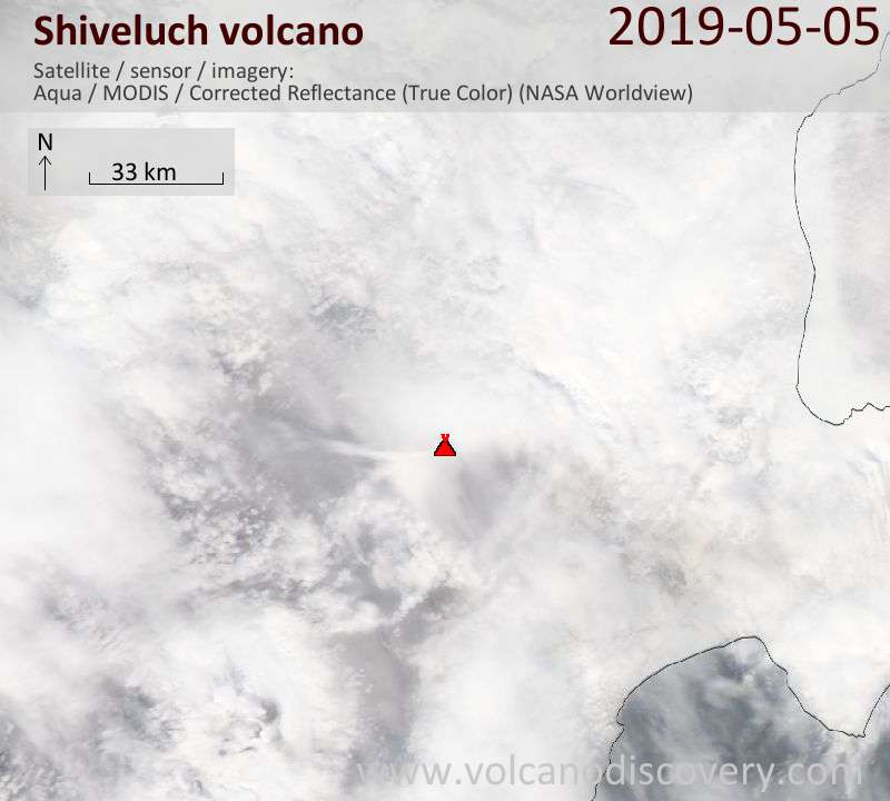 Satellite image of Shiveluch volcano on  5 May 2019