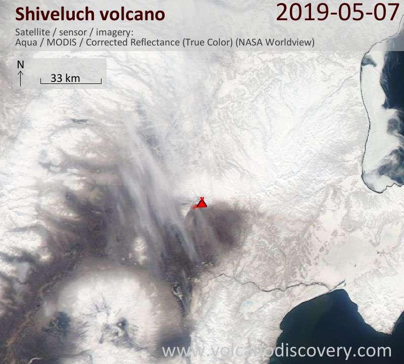 Satellitenbild des Shiveluch Vulkans am  7 May 2019