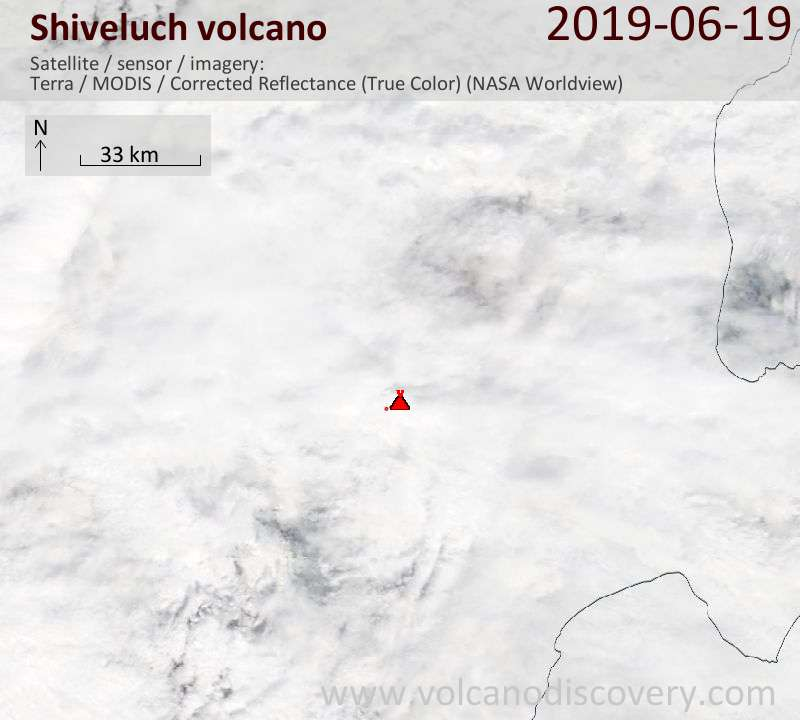 Satellite image of Shiveluch volcano on 19 Jun 2019