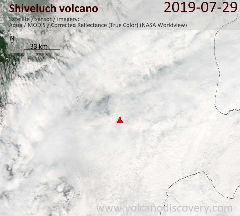 Satellite image of Shiveluch volcano on 29 Jul 2019