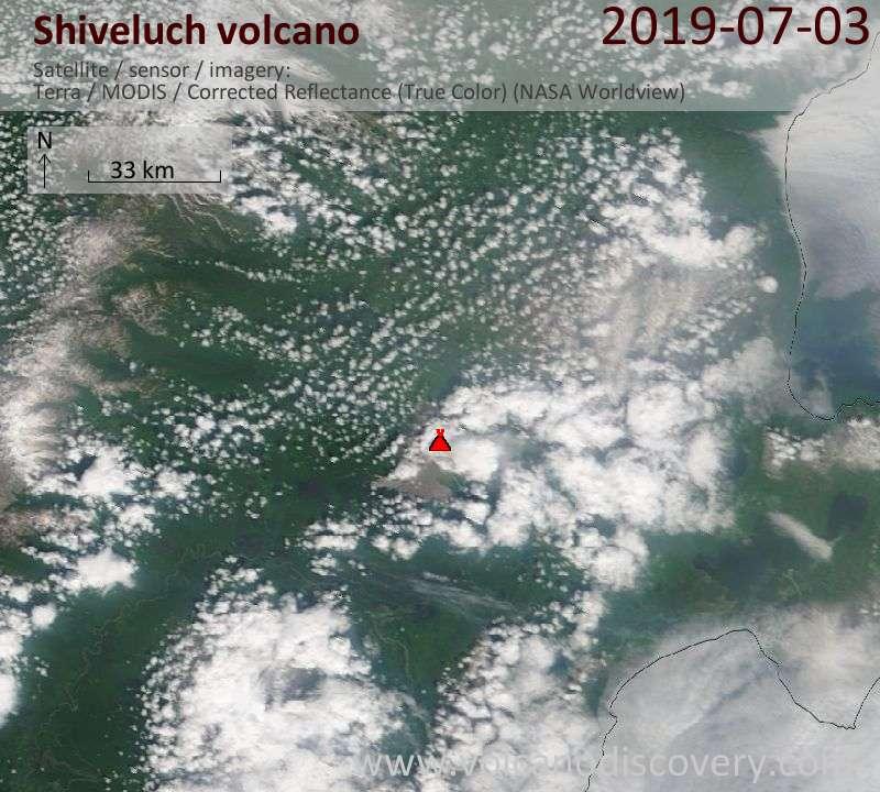 Спутниковое изображение вулкана Shiveluch  3 Jul 2019